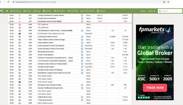 Schermata principale del sito forex peace army